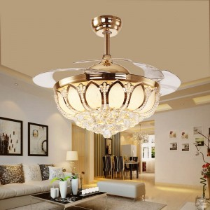 Crystal ceiling fan with light (UNI-194-2)