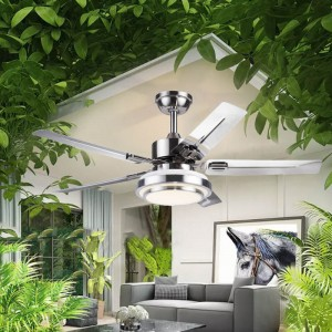 Led brushed nickel ceiling fan with light(UNI-293)