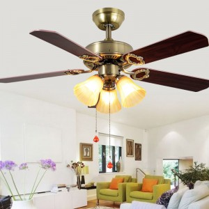 Wood ceiling fan with lamp (UNI-106)