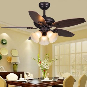 Wood blades electric ceiling fan with light (UNI-108-1)