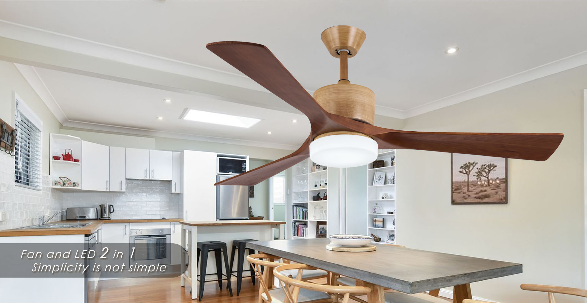 Solid wood ceiling fan